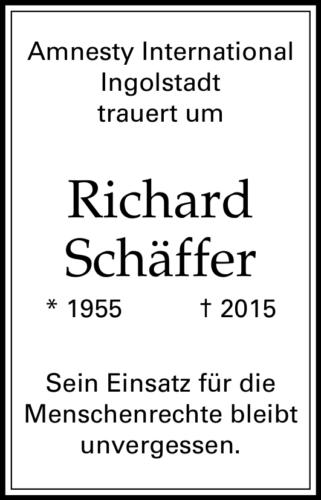 Traueranzeige Richard Schäffer