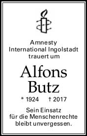 Todesanzeige Alfred Butz